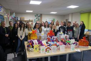 Students make food hampers for those in need this Christmas